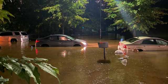 Several vehicles were stuck in floodwaters after Hurricane Delta's remnants triggered rainstroms in the Atlanta area on Saturday, according to fire officials.