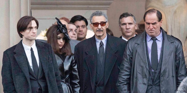 Left to right: Robert Pattinson, Zoë Kravitz, John Turturro and Colin Farrell in prosthetic makeup on the set of 'The Batman' on October 12, 2020 in Liverpool, England. (Photo by MEGA/GC Images)