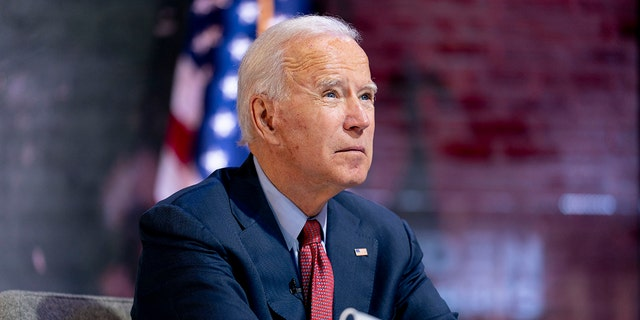 Joe Biden attends a virtual public health briefing in Wilmington, Del., during the 2020 presidential campaign, Oct. 28, 2020. (Associated Press)