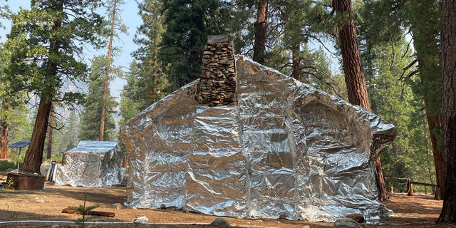 The Kern Canyon Ranger Station in Sequoia National Forest was wrapped in a protective wrap last week due an approaching wildfire.