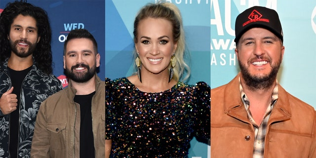 Dan + Shay (left), Carrie Underwood (center) and Luke Bryan (right) were among the stars who were recognized during the 2020 CMT Awards.