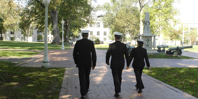 Three cadets at the Naval Acadamy in Annapolis, Maryland (iStock)
