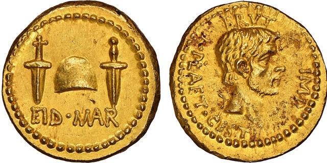 The Roman coin commemorating the assassination of Julius Caesar