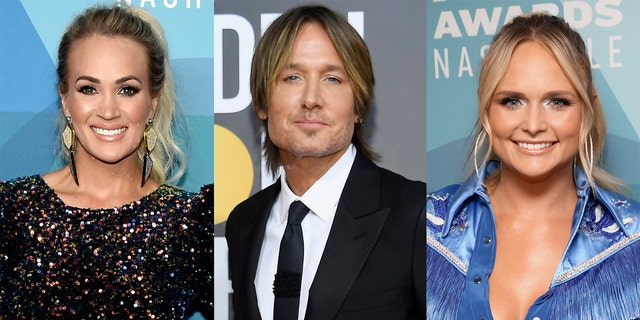 Carrie Underwood (left), Keith Urban (center) and Miranda Lambert (right) are among the evening's nominees.