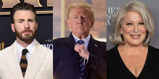 Several celebrities including Chris Evans (left) and Bette Midler (right) slammed Trump (center) for his comments after leaving medical care.