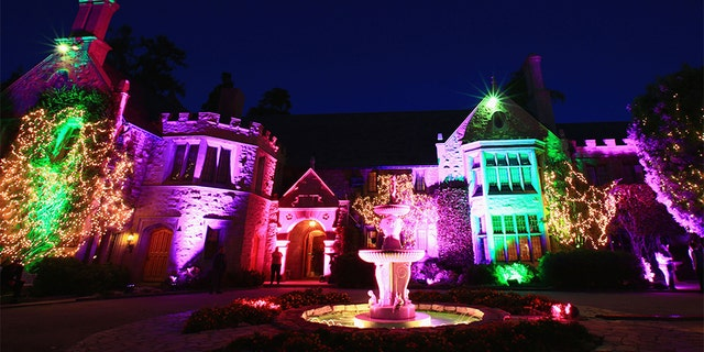 Guests attend the Annual Midsummer Night's Dream Party at the Playboy Mansion hosted by Hugh Hefner on August 16, 2014, in Holmby Hills, California.
