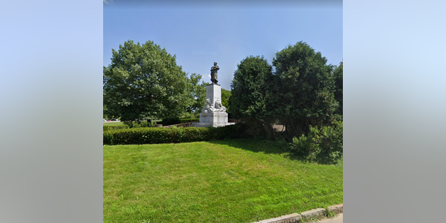 Christopher Columbus statue in Pittsburgh's Schenley Park.