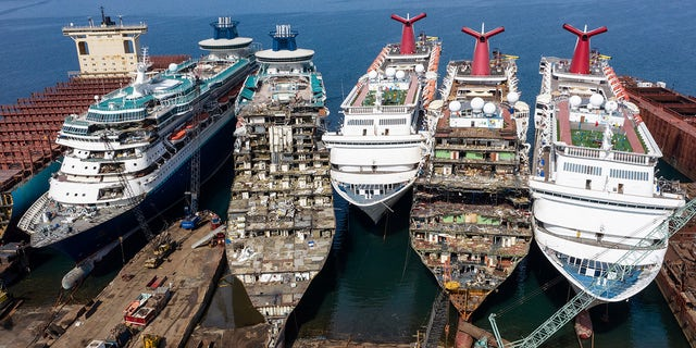 The luxury cruise ships were photographed being broked down at the Aliaga ship recycling port in Izmir, Turkey, earlier this month.