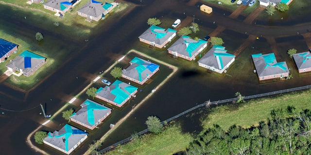Water surrounds houses with tarps in the aftermath of Hurricane Delta, Saturday Oct. 10, 2020, in Iowa, La.