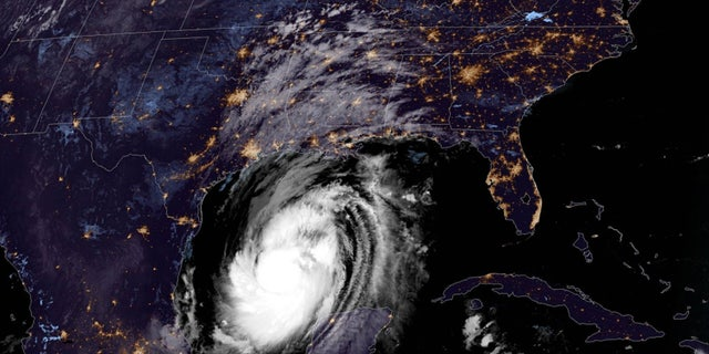 Hurricane Delta as seen over the Gulf of Mexico on Oct. 8, 2020.