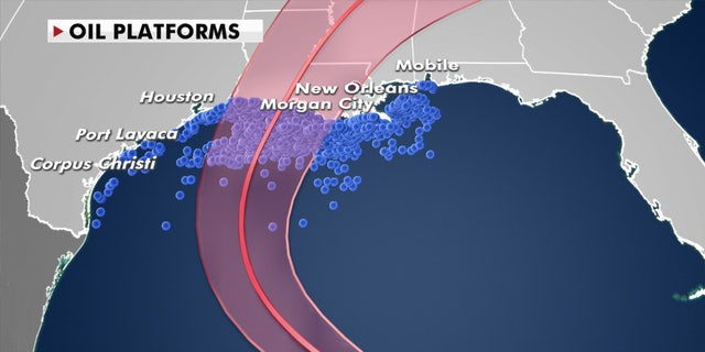 Hurricane Delta's path and oil platforms in the Gulf of Mexico.
