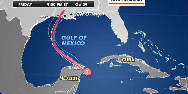 Forecast models show the path of Hurricane Delta.