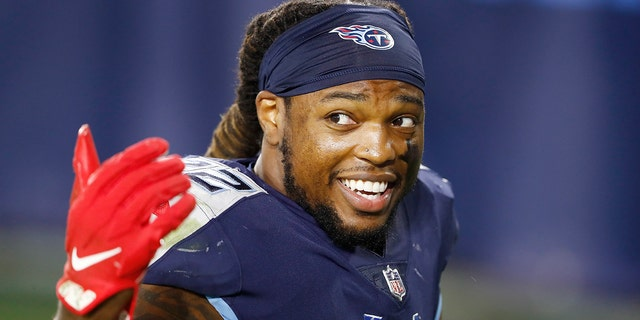 Tennessee Titans running back Derrick Henry leaves the field after an NFL football game against the Buffalo Bills Tuesday, Oct. 13, 2020, in Nashville, Tenn. Henry scored two touchdowns as the Titans won 42-16. (AP Photo/Wade Payne)