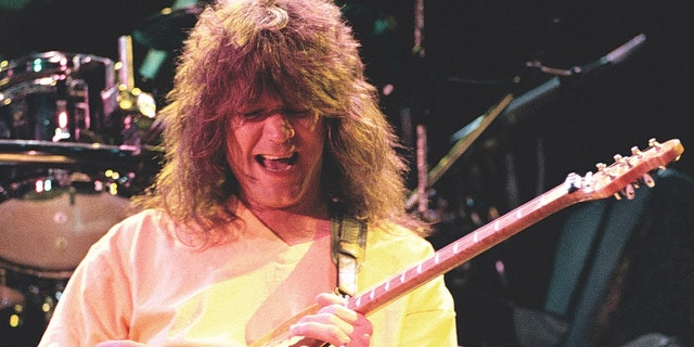 Van Halen guitarist, Eddie Van Halen performing at Cow Palace in San Francisco, Calif. on May 8th 1992. His son, Wolf, confirmed his death Tuesday, calling him 'the best father I could ever ask for.'