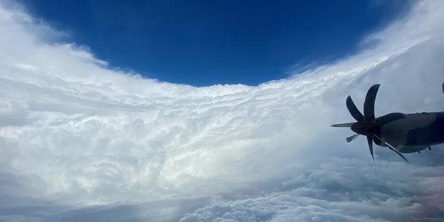 "The ""stadium effect"" of Hurricane Epsilon can be seen on Wednesday, Oct. 21, 2020."