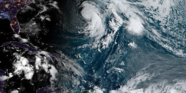 Hurricane Epsilon can be seen over the Atlantic Ocean on Thursday, Oct. 22, 2020.