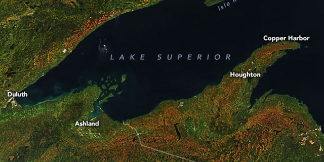 The most vibrant colors were seen in areas surrounding Lake Superior.