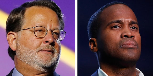 In this combination of 2018 and 2019 file photos are, from left, Democratic U.S. Sen. Gary Peters, D-Mich., and Republican U.S. Senate candidate John James. Money is abundant in Michigan's competitive U.S. Senate race between Peters and James. A campaign-finance expert projects spending will top a staggering $100 million by Election Day. (AP Photos, File)