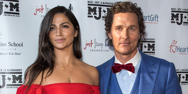 Camila Alves and Matthew McConaughey arrive at the Mack, Jack & McConaughey charity gala at ACL Live on April 25, 2019, in Austin, Texas.