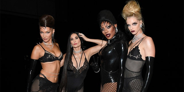 (EDITORS NOTE: This image has been retouched) (L-R) In this image released on October 2, Bella Hadid, Demi Moore, Jaida Essence Hall, and Abby Champion are seen backstage during Rihanna's Savage X Fenty Show Vol. 2 presented by Amazon Prime Video at the Los Angeles Convention Center in Los Angeles, Calif. and broadcast on October 2, 2020.