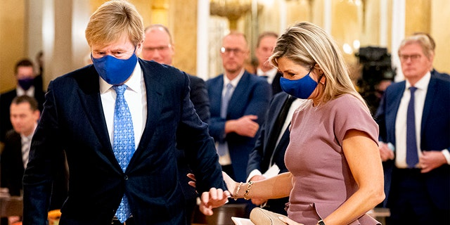 King Willem-Alexander of The Netherlands and Queen Maxima pictured here on October 13, 2020, in The Hague, Netherlands. Their vacation started on Friday and ended immediately on Saturday after the public became aware of the royal getaway.