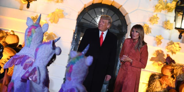 In years past, the president and first lady would personally dole out the candy. (Olivier Douliery/AFP via Getty Images)