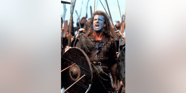 """Mel Gibson in a scene from the film """"Braveheart"""" in 1995"""
