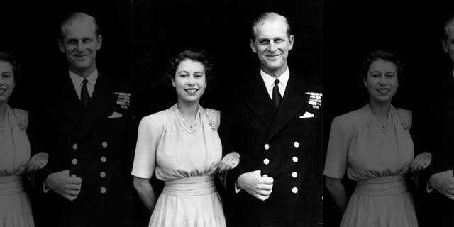 The first official picture after the announcement of the engagement of Princess Elizabeth and Lieutenant Philip Mountbatten, the former Prince Philip of Greece, at Buckingham Palace.