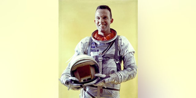 This undated NASA handout shows astronaut Gordon Cooper in a spacesuit. Cooper died on October 4, 2004, at his home in Los Angeles at the age of 77. One of the original Mercury Project astronauts, Cooper became the first man to spend 34 hours in space, as well as the first man to sleep in space.