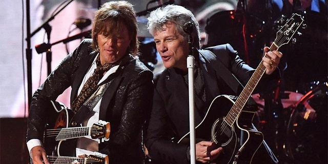 Jon Bon Jovi (right) and Richie Sambora of Bon Jovi.