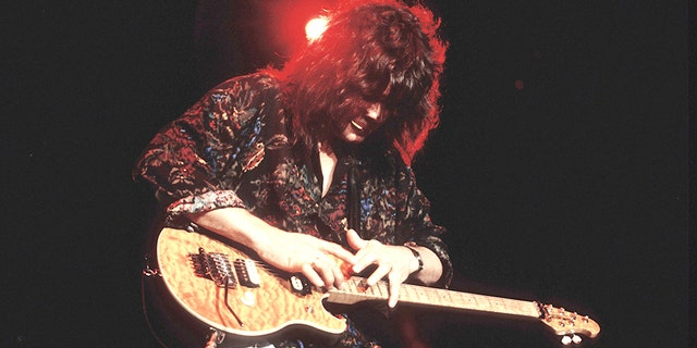 Eddie Van Halen performs in Minneapolis, Minnesota on April 2, 1992. (Photo by Jim Steinfeldt/Michael Ochs Archives/Getty Images)