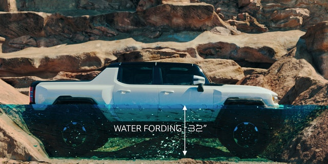 The GMC Hummer EV can ford 32 inches of water.
