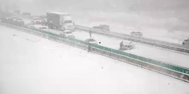 Traffic accidents were reported in the Des Moines, Iowa area on Monday, Oct. 19, 2020, as a snow squall created whiteout conditions.