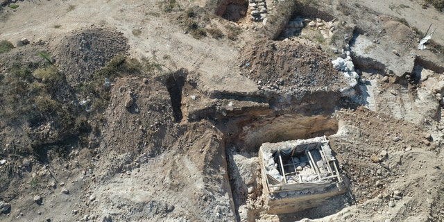 An aerial view of the mikveh, or ritual bath, and the ancient farmstead.