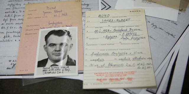 The documents of a suspected British agent called James Bond are pictured at the Institute of National Remembrance in Warsaw, Poland. (Reuters)