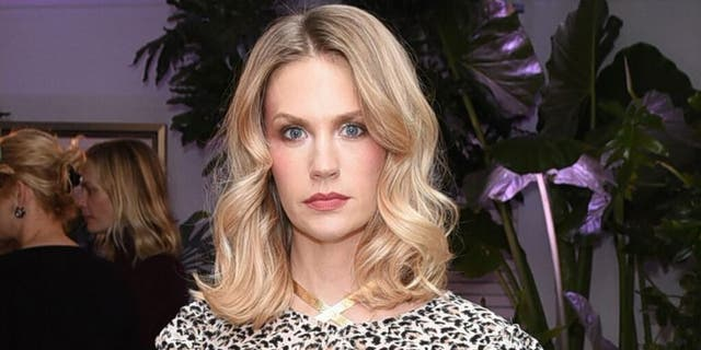 January Jones posed in a pink bra for Breast Cance Awareness Month