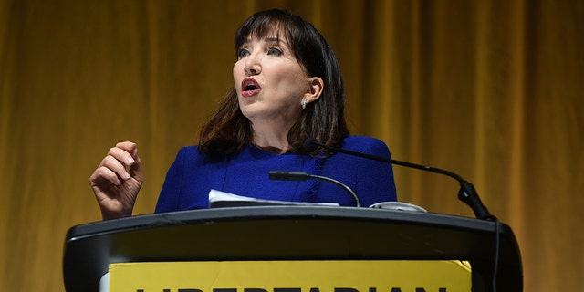 Jo Jorgensen, the 2020 presidential nominee of the Libertarian Party, gives her acceptance speech during the 2020 Libertarian National Convention at the Orange County Convention Center. Jorgensen is the first woman to receive the Libertarian presidential nomination. (Photo by Paul Hennessy/SOPA Images/LightRocket via Getty Images)