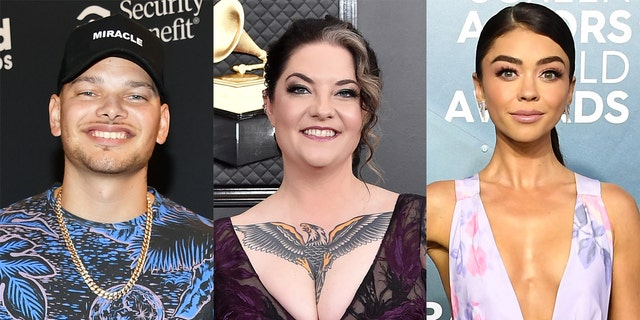Kane Brown (left), Ashley McBryde (center) and Sarah Hyland (right) will host the 2020 CMT Music Awards.