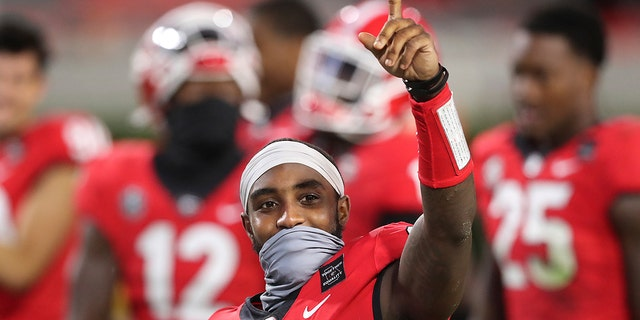 Georgia wide receiver Kearis Jackson celebrates the team's 27-6 victory over Auburn during an NCAA college football game Saturday, Oct. 3, 2020, in Athens, Ga. (Curtis Compton/Atlanta Journal-Constitution via AP)