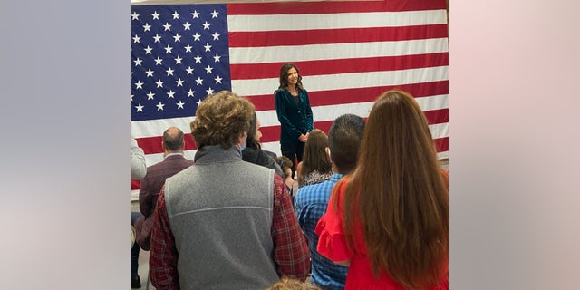 South Dakota Gov. Kristi Noem headlines an event at President Trump's New Hampshire campaign headquarters, on Oct. 15, 2020 in Manchester, N.H.