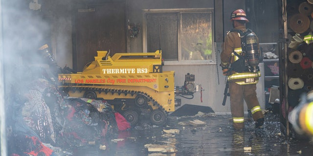 The Los Angeles Fire Department debuted the first robotic firefighting vehicle in the United States, putting it to use on its first day in service Tuesday.