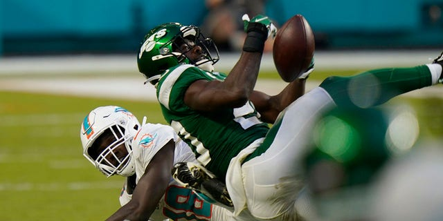 New York Jets free safety Marcus Maye (20) intercepts a pass intended for Miami Dolphins wide receiver Preston Williams (18), during the second half of an NFL football game, Sunday, Oct. 18, 2020, in Miami Gardens, Fla. (AP Photo/Lynne Sladky)