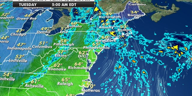 Rainy conditions can be expected in the Northeast through Tuesday.