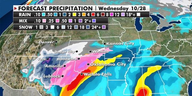 Forecast precipitation through Wednesday.