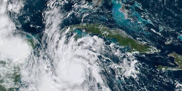 Hurricane Delta, strengthening as it takes aim at Mexico's Yucatan Peninsula, can be seen on satellite Oct. 6, 2020.