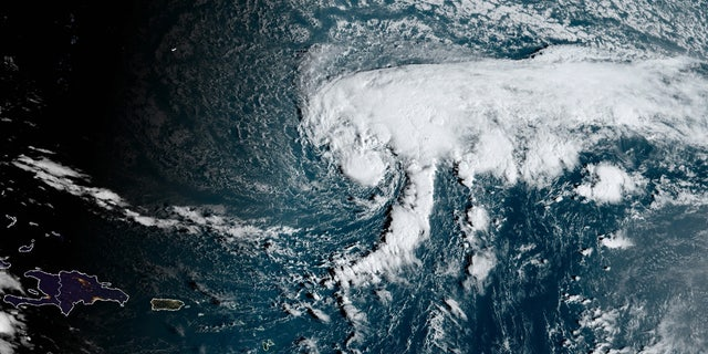 Tropical Storm Epsilon is seen over the Atlantic on Tuesday, Oct. 10, 2020.