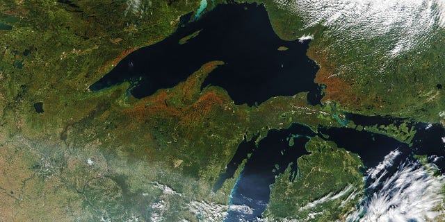 Leaves can be seen changing in portions of Minnesota, Wisconsin, and Michigan on Sept. 22, 2020.