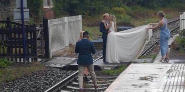 """""""Wedding photos or selfies on the track are just plain stupidity,"""" saidAllan Spence, the head of Passenger and Public Safety for the U.K. Network Rail service."""