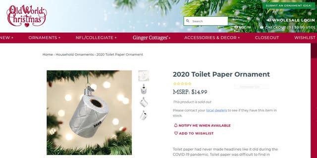 """Toilet paper had never made headlines like it did during the COVID-19 pandemic,"" the TP ornament description reads."