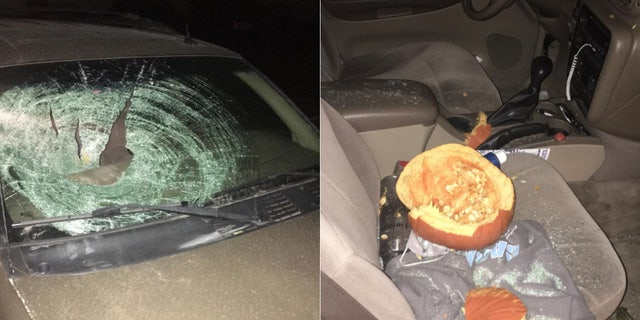 A pumpkin thrown from an overpass above Interstate 70 near Danville, Indiana, smashed through 20-year-old Caleb Needham's windshield, narrowly missing the college student.